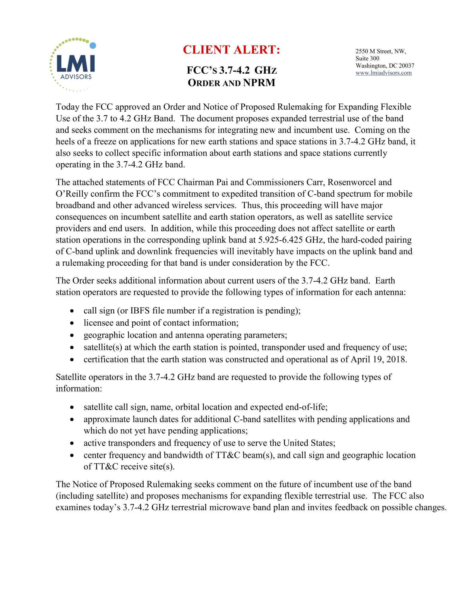 FCC'S 3.7-4.2 GHz Order and NPRM Client Alert